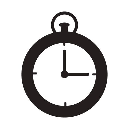 Flat icon in black and  white stopwatch