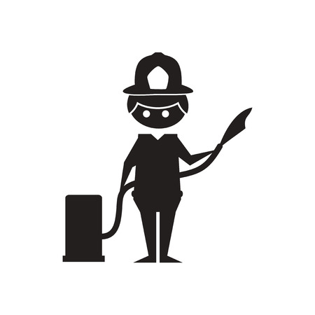 Flat icon in black and  white firefighter