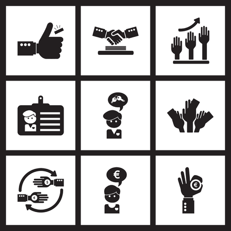 broken trust: Concept flat icons in black and  white economy Illustration