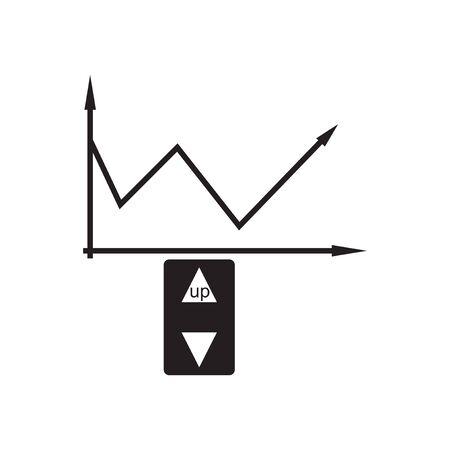 unite: Flat icon in black and  white economic graph Illustration