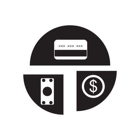 infochart: Flat icon in black and  white financial chart