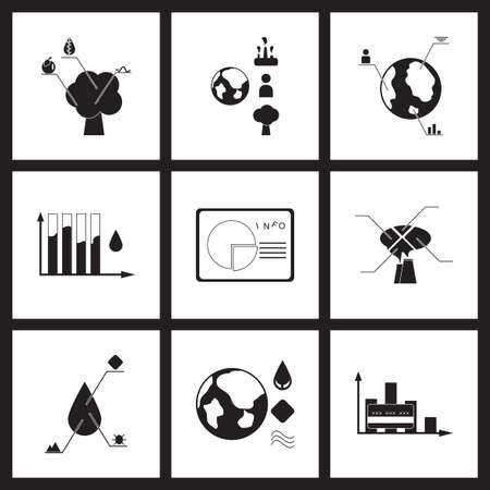 construction paper art: Concept flat icons in black and  white infographics