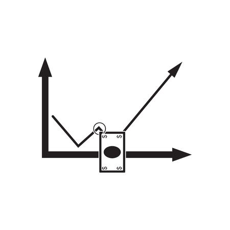 Flat icon in black and  white economic graph Illustration