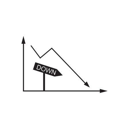Flat icon in black and  white economic graph Illustration
