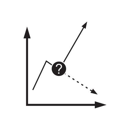 Flat icon in black and  white economic graph Ilustrace