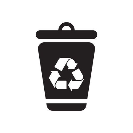 trashcan: Flat icon in black and  white eco trashcan