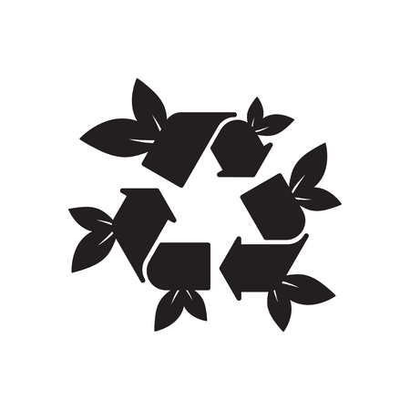 original ecological: Flat icon in black and  white arrow leaves