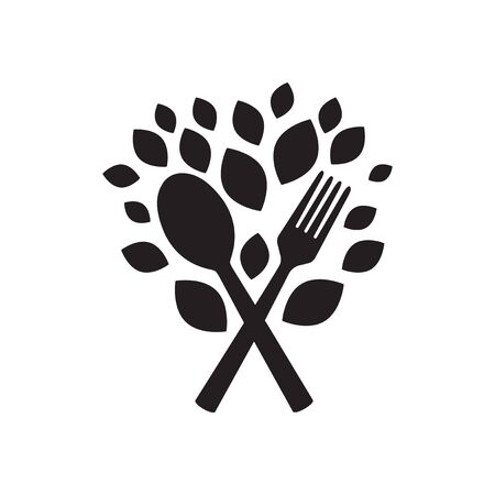 Flat icon in black and  white eco cutlery Illustration