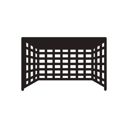 football goal: Flat icon in black and  white Football goal Illustration