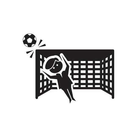 goalkeeper: Flat icon in black and  white football goalkeeper