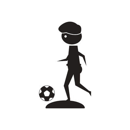 Flat icon in black and  white football player