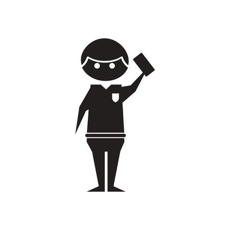 Flat icon in black and white referee Vektorové ilustrace