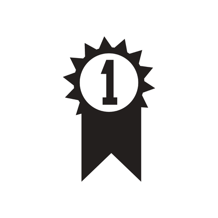 1 place: Flat icon in black and  white first place Illustration