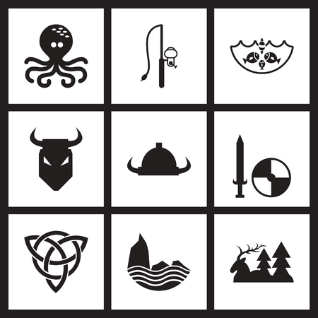 irish sea: Concept flat icons in black and  white Celts