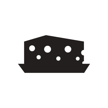 holand: Flat icon in black and  white Dutch cheese