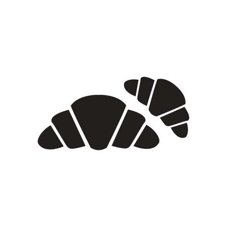 traditionally: Flat icon in black and  white French croissants