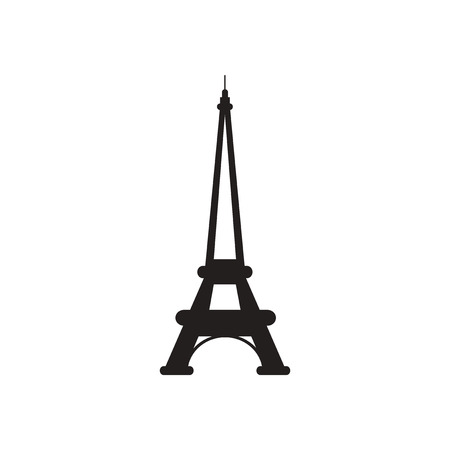 french culture: Flat icon in black and  white Eiffel Tower Illustration