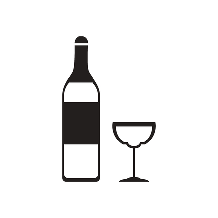 cabernet sauvignon: Flat icon in black and  white glass wine bottle Illustration