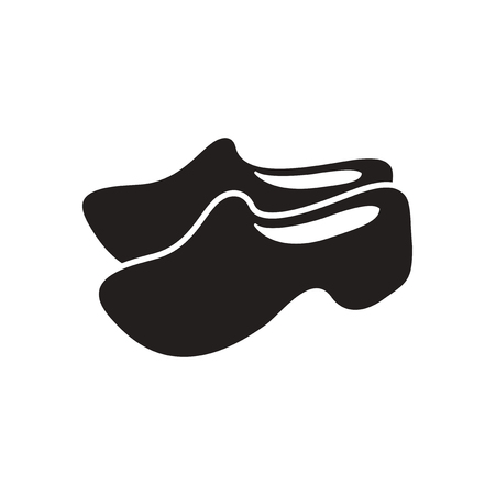 wooden shoes: Flat icon in black and  white wooden shoes Illustration