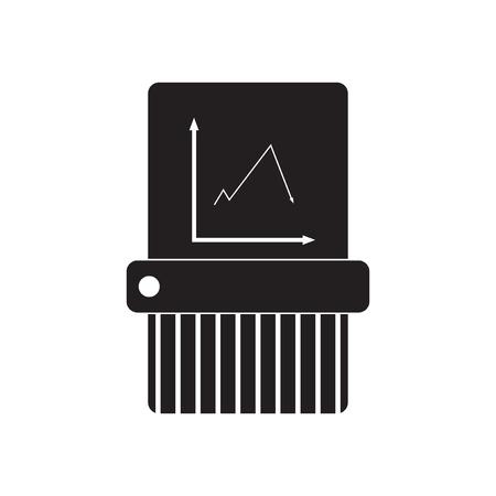 shredder machine: Flat icon in black and  white shredder
