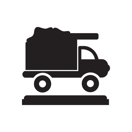 utilize: Flat icon in black and  white garbage truck