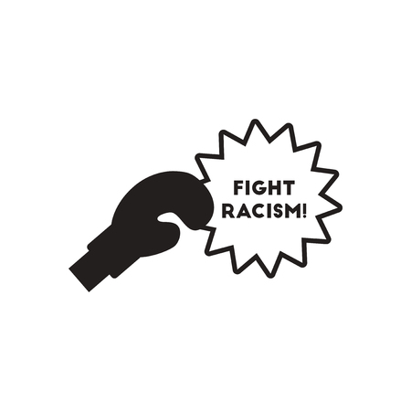Flat icon in black and  white fight racism Illustration