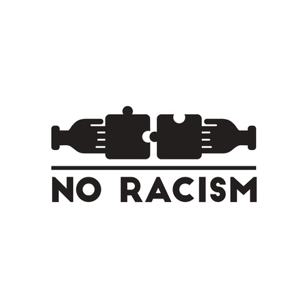 discriminate: Flat icon in black and  white racism Illustration