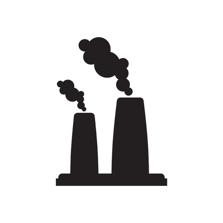 petrochemical plant: Flat icon in black and  white factory Illustration