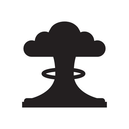 mushroom cloud: Flat icon in black and  white mushroom cloud