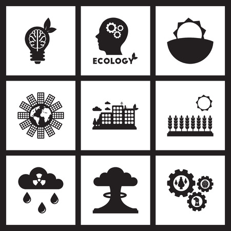 kwaśne deszcze: Concept flat icons in black and  white ecology