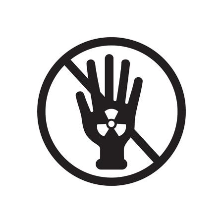 radiactividad: icono plano de la radiactividad blanco y negro