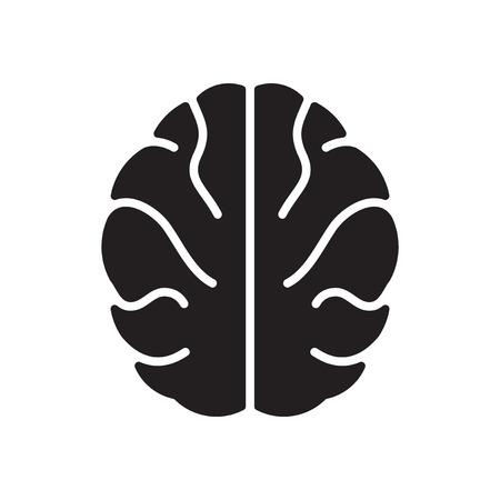 cerebro blanco y negro: icono plano en blanco y negro cerebro humano