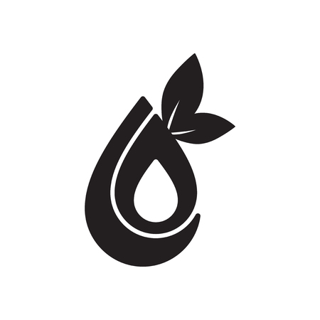 original ecological: Flat icon in black and  white eco water