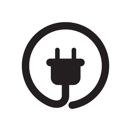 Flat icon in black and white power socket