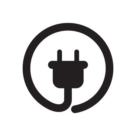 icône plat dans la prise d'alimentation en noir et blanc