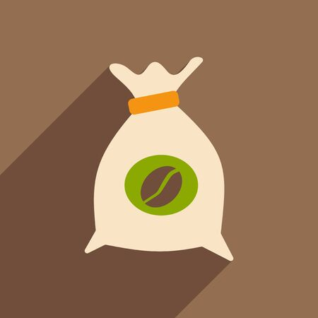 coffee bag: Flat with shadow icon and mobile application coffee bag