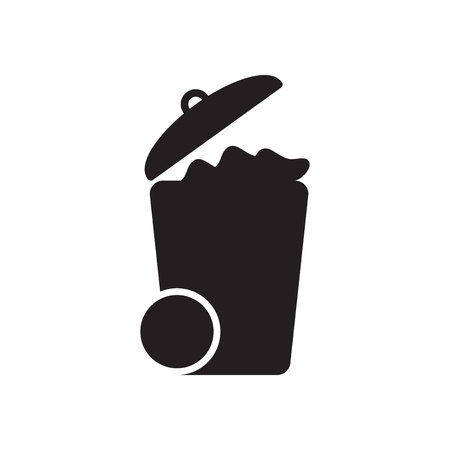 utilize: Flat icon in black and  white garbage