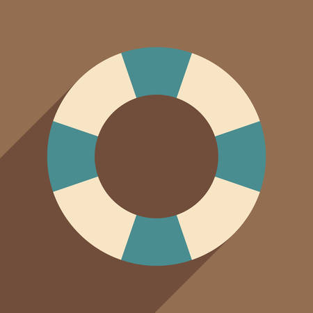 rubber ring: Flat with shadow icon and mobile application rubber ring