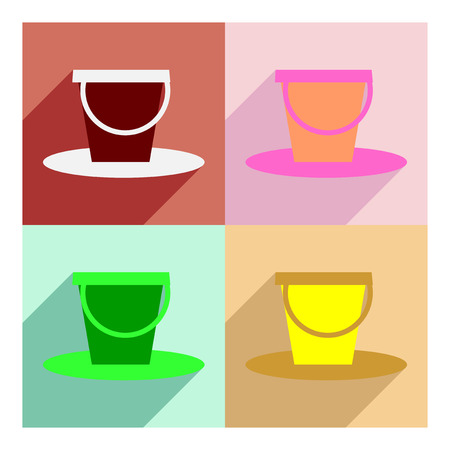bucket and spade: Flat with shadow concept and mobile application baby bucket
