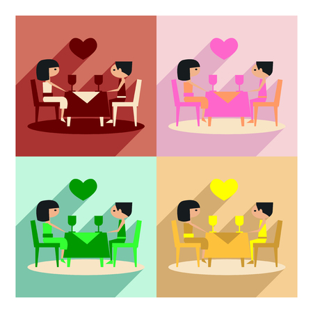 romantic dinner: Flat with shadow concept and mobile application romantic dinner Illustration