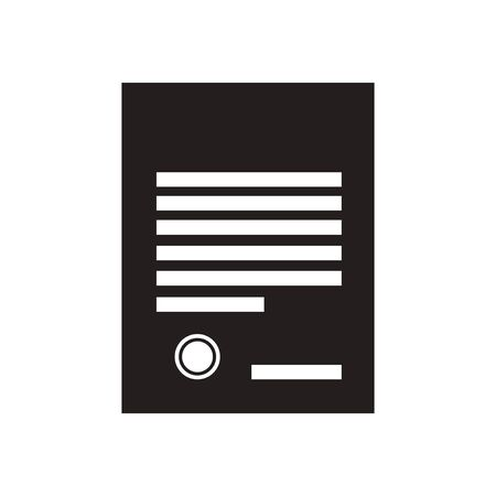 indenture: Flat icon in black and  white document Illustration