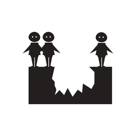 chasm: Flat icon in black and  white people from abyss