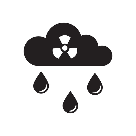 atmosphere: Flat icon in black and  white toxic rain