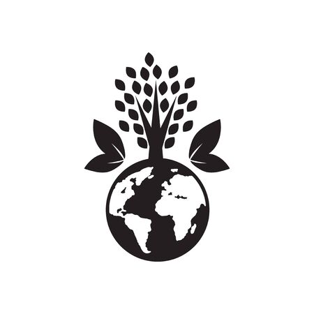Flat icon in black and  white eco planet