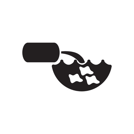 unclean: Flat icon in black and  white water pollution