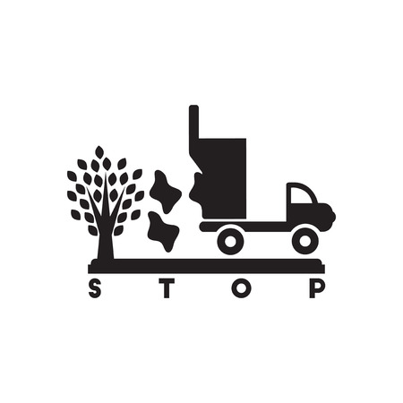 stop pollution: Flat icon in black and  white stop pollution