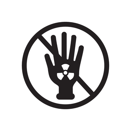 polution: Flat icon in black and  white radioactivity Illustration