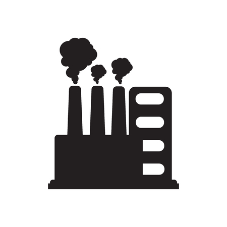petrochemical: Flat icon in black and  white factory Illustration