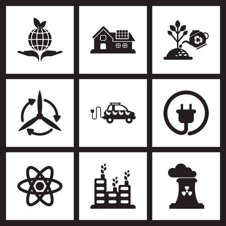 iconos planos del concepto de la ecología en blanco y negro