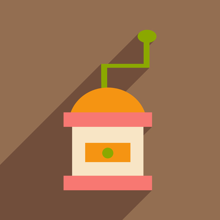 coffee mill: Flat with shadow icon and mobile application coffee mill